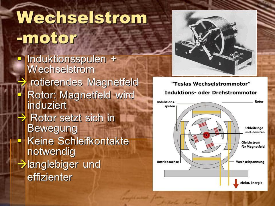 Wechselstrom -motor Induktionsspulen + Wechselstrom Induktionsspulen + Wechselstrom rotierendes Magnetfeld rotierendes Magnetfeld Rotor: Magnetfeld wi