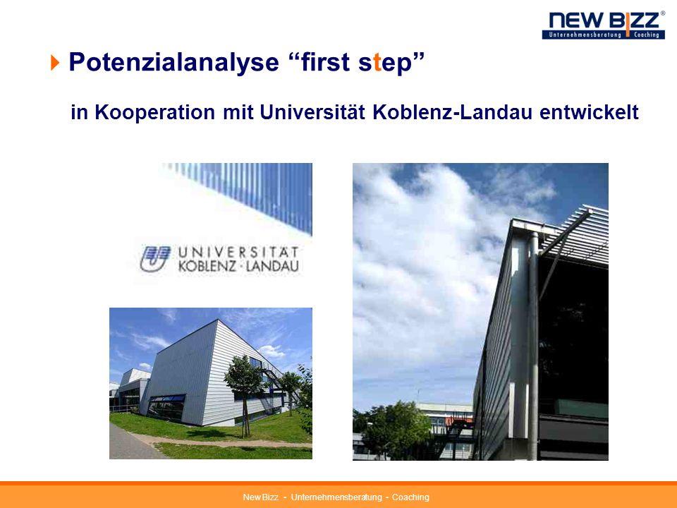 New Bizz Unternehmensberatung Coaching Potenzialanalyse first step Unternehmerisches Gesamtpotenzial 7 Einzelmerkmale