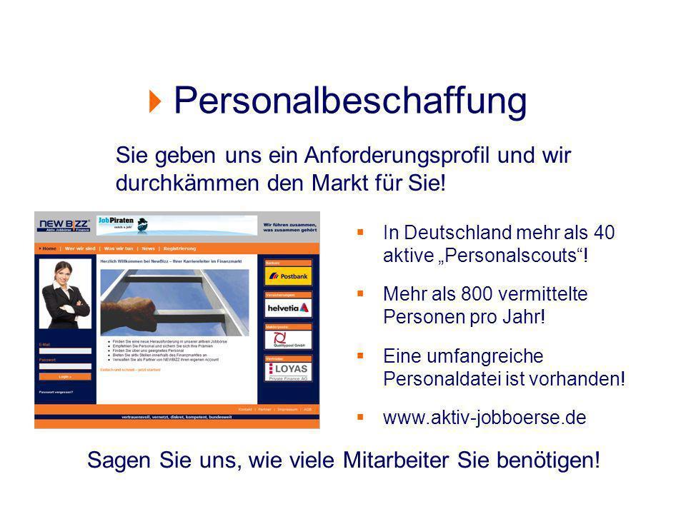 Personalbeschaffung Sagen Sie uns, wie viele Mitarbeiter Sie benötigen! In Deutschland mehr als 40 aktive Personalscouts! Mehr als 800 vermittelte Per