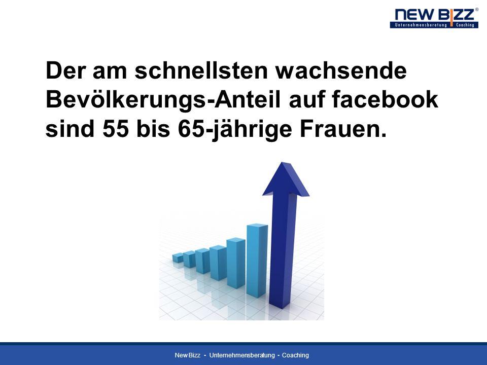 New Bizz Unternehmensberatung Coaching Der am schnellsten wachsende Bevölkerungs-Anteil auf facebook sind 55 bis 65-jährige Frauen.
