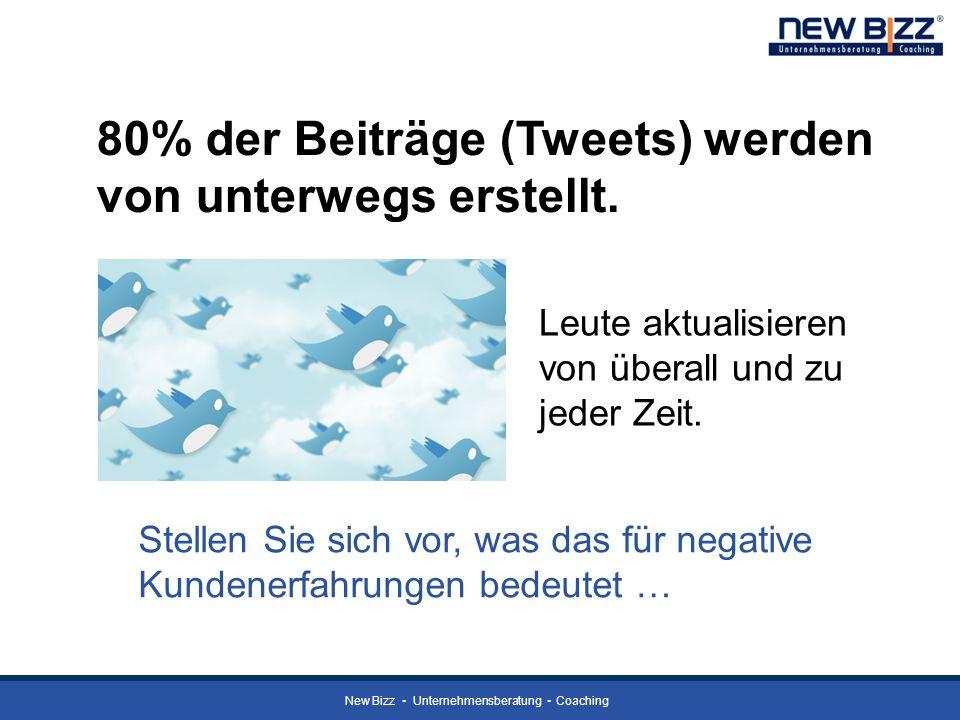 New Bizz Unternehmensberatung Coaching 80% der Beiträge (Tweets) werden von unterwegs erstellt. Leute aktualisieren von überall und zu jeder Zeit. Ste