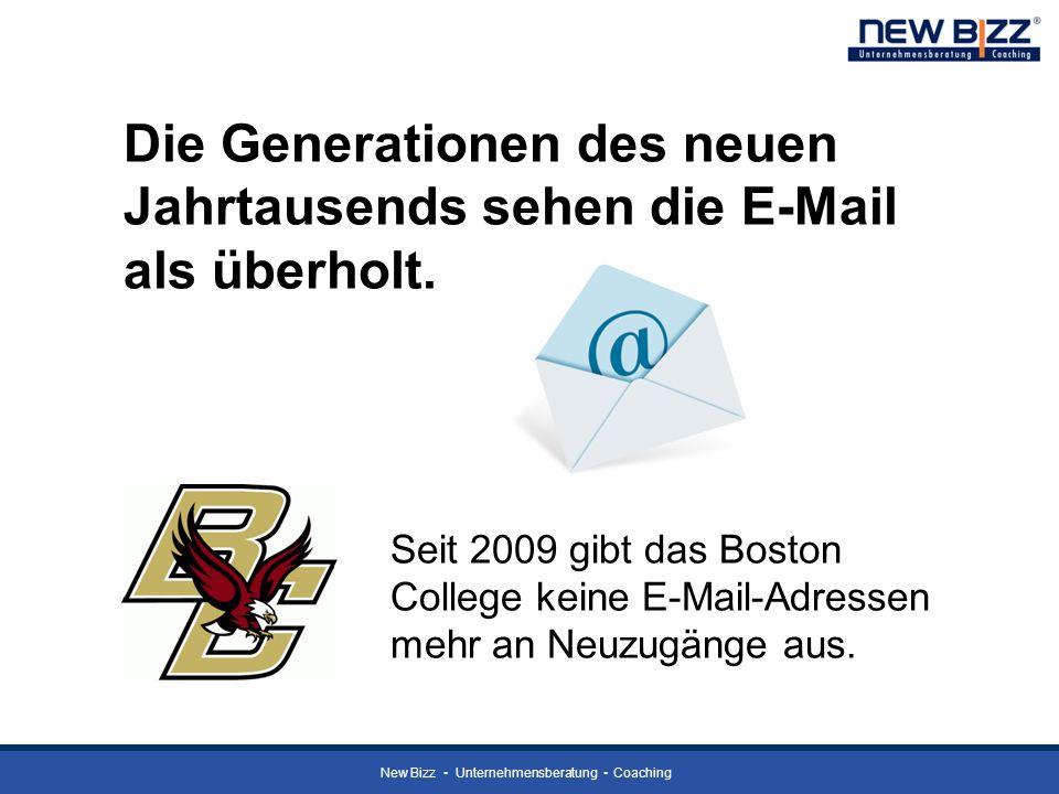 New Bizz Unternehmensberatung Coaching Die Generationen des neuen Jahrtausends sehen die E-Mail als überholt. Seit 2009 gibt das Boston College keine