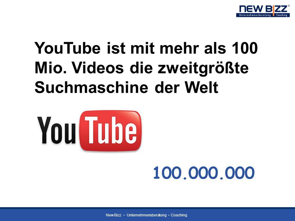 New Bizz Unternehmensberatung Coaching YouTube ist mit mehr als 100 Mio. Videos die zweitgrößte Suchmaschine der Welt 100.000.000