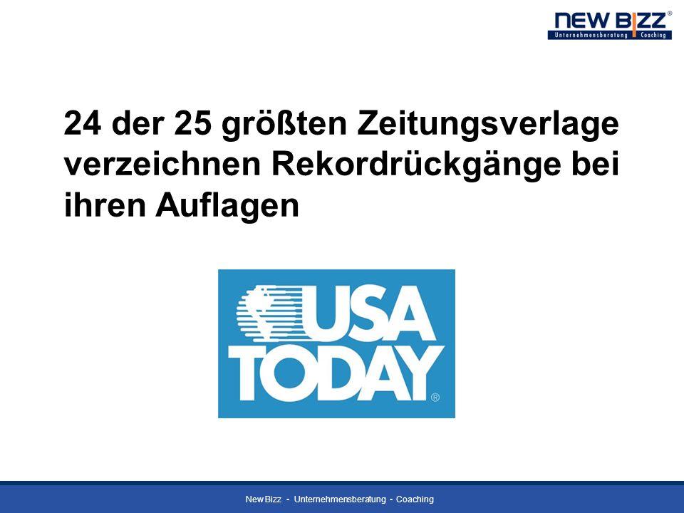 New Bizz Unternehmensberatung Coaching 24 der 25 größten Zeitungsverlage verzeichnen Rekordrückgänge bei ihren Auflagen