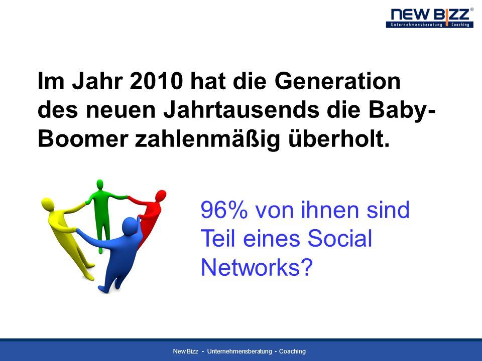 New Bizz Unternehmensberatung Coaching Im Jahr 2010 hat die Generation des neuen Jahrtausends die Baby- Boomer zahlenmäßig überholt. 96% von ihnen sin
