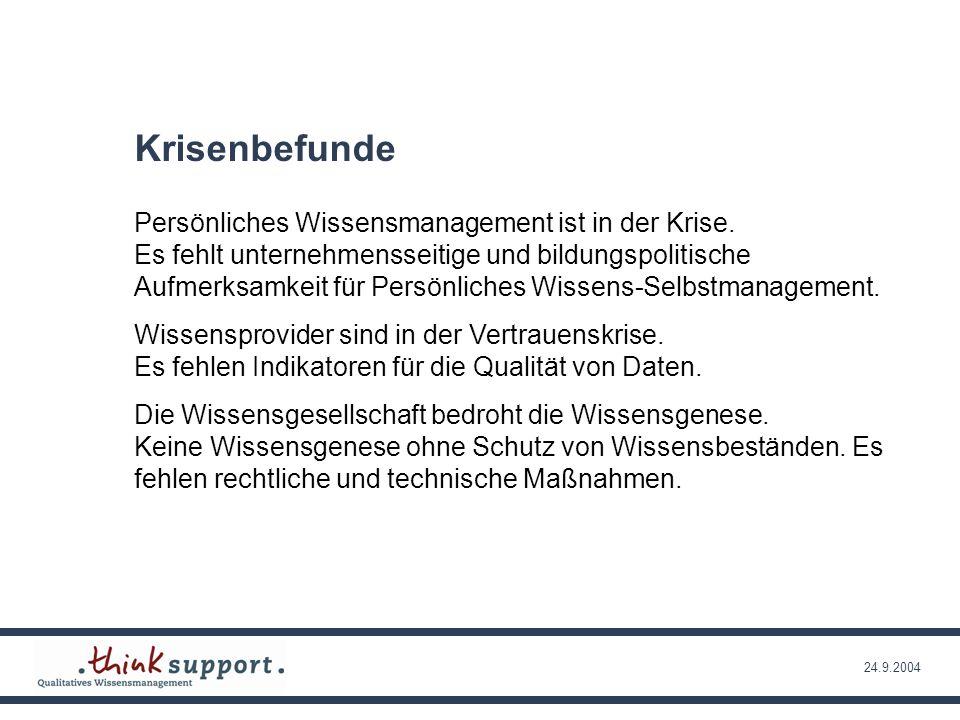 24.9.2004 Weitere Krisenbefunde Das unternehmensbezogene Wissensmanagement ist in einer Aktzeptanz und Nutzungskrise.