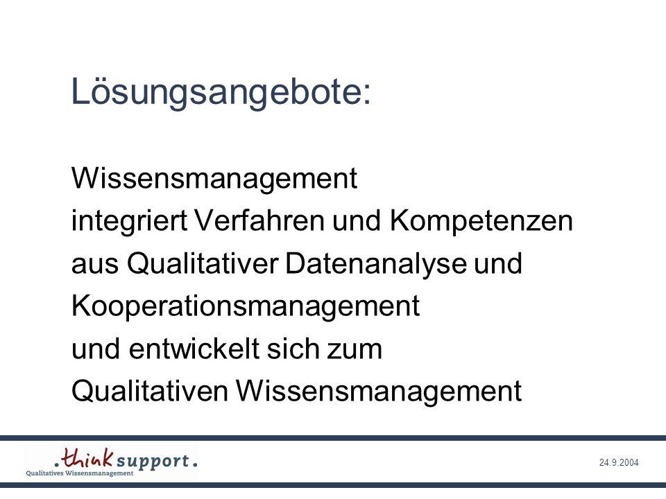 24.9.2004 Wissensmanagement KooperationsmanagementQualitative Datenanalyse