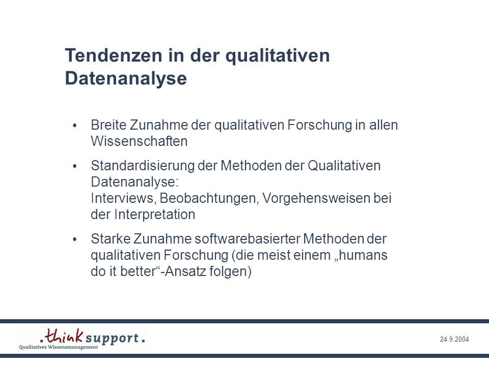 24.9.2004 Qualitative Datenanalyse in den Sozialwissenschaften, ein Angebot an andere Disziplinen ….