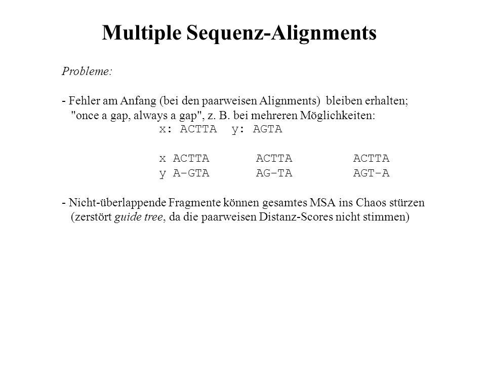 Probleme: - Fehler am Anfang (bei den paarweisen Alignments) bleiben erhalten;