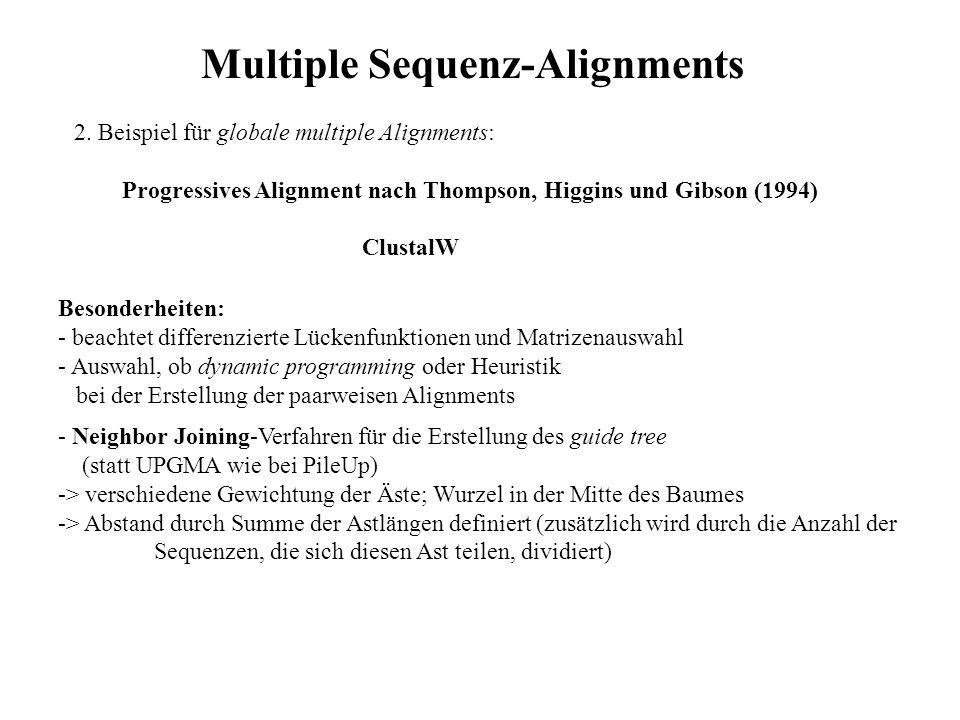 2. Beispiel für globale multiple Alignments: Progressives Alignment nach Thompson, Higgins und Gibson (1994) ClustalW Besonderheiten: - beachtet diffe
