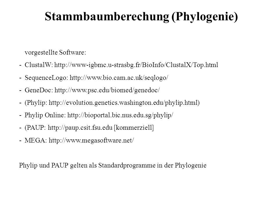 vorgestellte Software: -ClustalW: http://www-igbmc.u-strasbg.fr/BioInfo/ClustalX/Top.html -SequenceLogo: http://www.bio.cam.ac.uk/seqlogo/ -GeneDoc: h