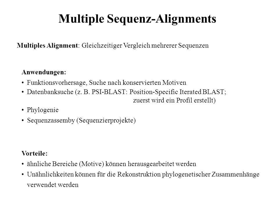 Multiple Sequenz-Alignments Multiples Alignment: Gleichzeitiger Vergleich mehrerer Sequenzen Anwendungen: Funktionsvorhersage, Suche nach konservierte