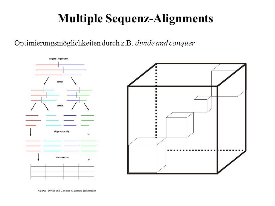 Heuristische Ansätze: Halten Aufwand in Grenzen, bei akzeptabel guten Ergebnissen - PileUp (GCG) - CLUSTALW - Lösungen basierend auf Hidden Markov Modellen - PSI-BLAST Multiple Sequenz-Alignments