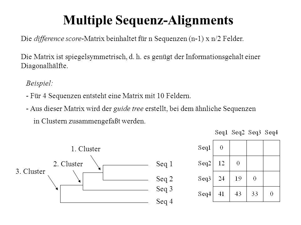 Progressives Alignment: UPGMA-Methode: unweighted pair-group method using arithmetic averages Annahme: alle Sequenzen evolvieren gleichmäßig und mit konstanter Geschwindigkeit - Sequenzen je einer Verzweigung ergeben Alignment, arithmetische Mittelung ihrer Distanzen - Alignments der benachbarten Äste werden in neues Alignment gefaßt - Weitere Alignments bis letzte Einzelsequenz oder Ast-Alignment erfaßt ist Multiple Sequenz-Alignments