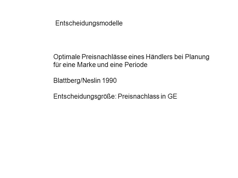 Entscheidungsmodelle Optimale Preisnachlässe eines Händlers bei Planung für eine Marke und eine Periode Blattberg/Neslin 1990 Entscheidungsgröße: Prei