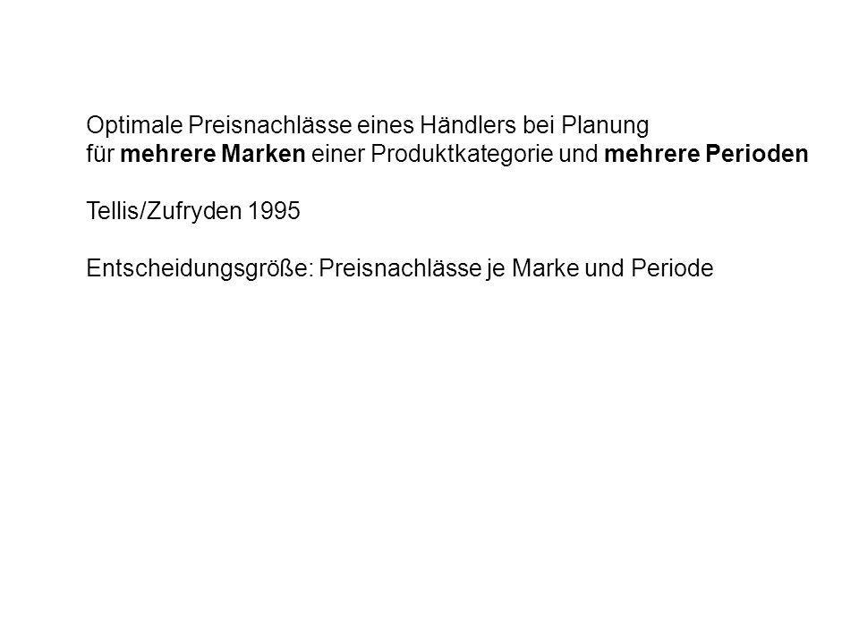 Optimale Preisnachlässe eines Händlers bei Planung für mehrere Marken einer Produktkategorie und mehrere Perioden Tellis/Zufryden 1995 Entscheidungsgr