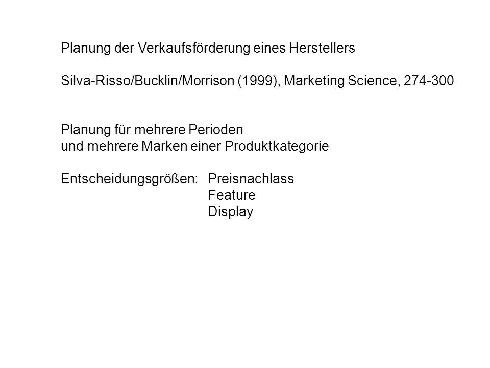 Planung der Verkaufsförderung eines Herstellers Silva-Risso/Bucklin/Morrison (1999), Marketing Science, 274-300 Planung für mehrere Perioden und mehre