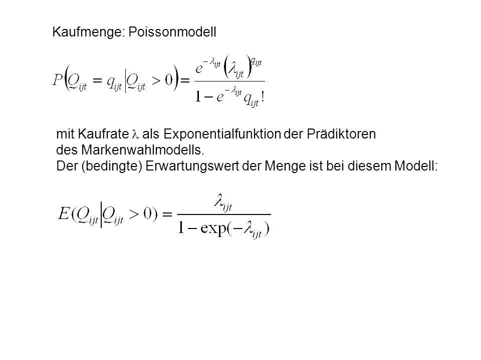 Kaufmenge: Poissonmodell mit Kaufrate als Exponentialfunktion der Prädiktoren des Markenwahlmodells. Der (bedingte) Erwartungswert der Menge ist bei d
