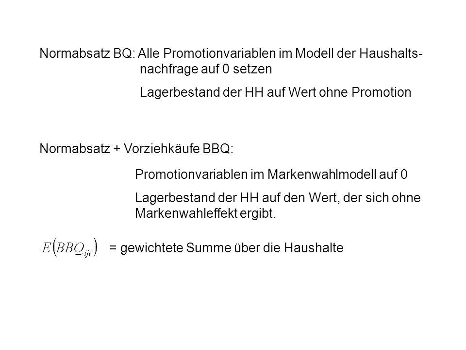 Normabsatz BQ: Alle Promotionvariablen im Modell der Haushalts- nachfrage auf 0 setzen Lagerbestand der HH auf Wert ohne Promotion Normabsatz + Vorzie