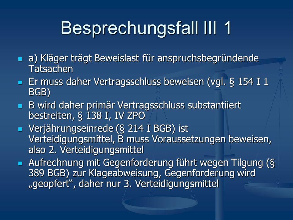 Besprechungsfall III 1 a) Kläger trägt Beweislast für anspruchsbegründende Tatsachen a) Kläger trägt Beweislast für anspruchsbegründende Tatsachen Er