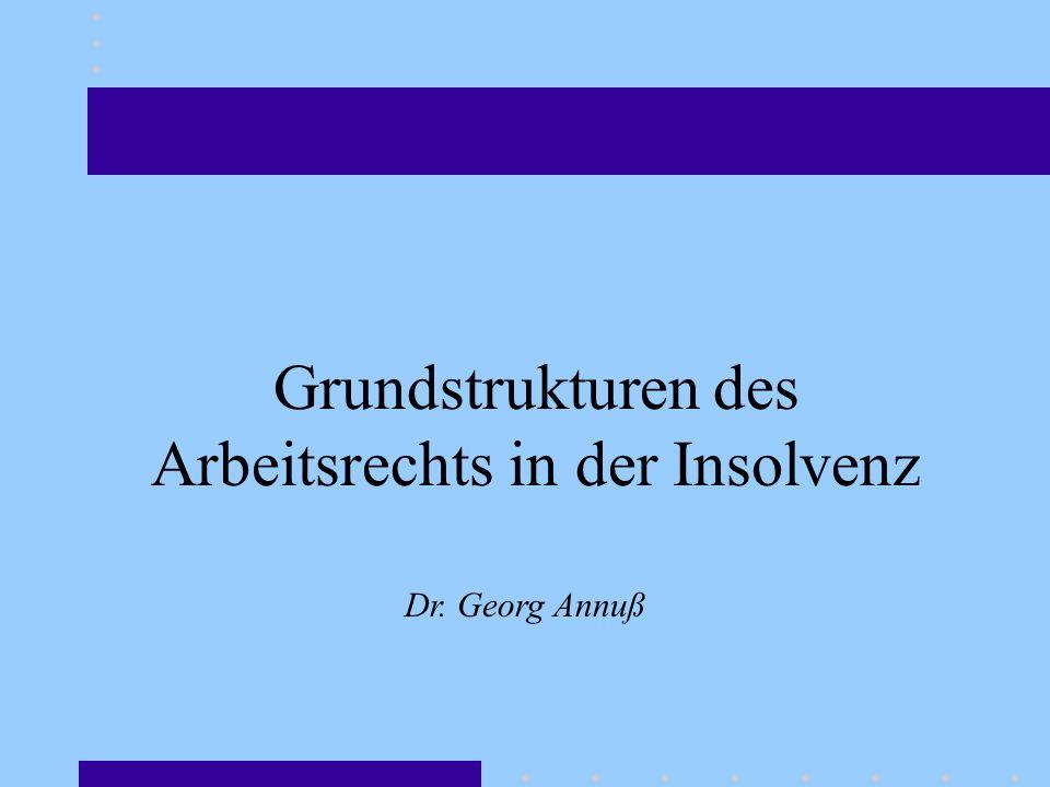 Grundstrukturen des Arbeitsrechts in der Insolvenz Dr. Georg Annuß