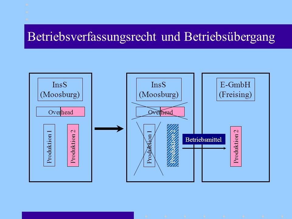 InsS (Moosburg) Produktion 1 Produktion 2 Overhead InsS (Moosburg) Produktion 1 Produktion 2 Overhead E-GmbH (Freising) Produktion 2 Betriebsmittel Betriebsverfassungsrecht und Betriebsübergang