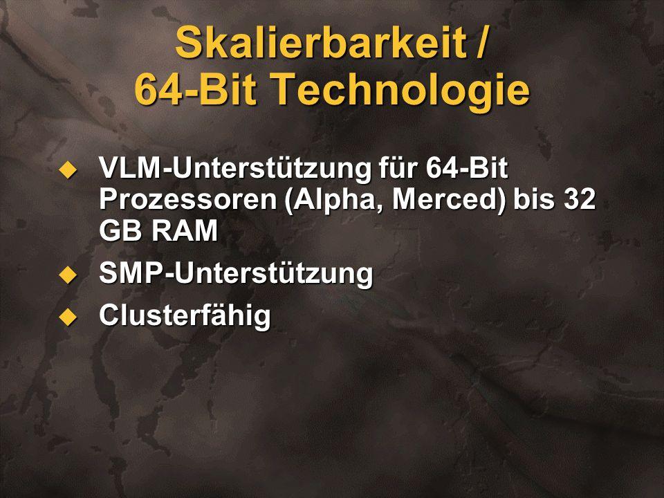 Skalierbarkeit / 64-Bit Technologie VLM-Unterstützung für 64-Bit Prozessoren (Alpha, Merced) bis 32 GB RAM VLM-Unterstützung für 64-Bit Prozessoren (A
