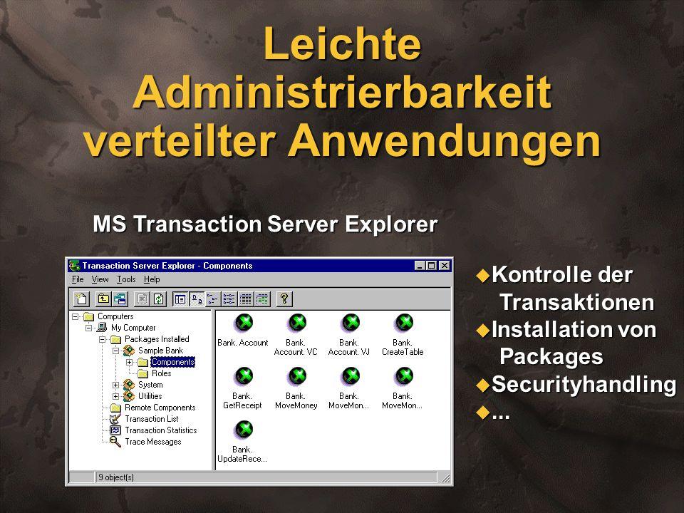 Leichte Administrierbarkeit verteilter Anwendungen MS Transaction Server Explorer u Kontrolle der Transaktionen Transaktionen u Installation von Packa