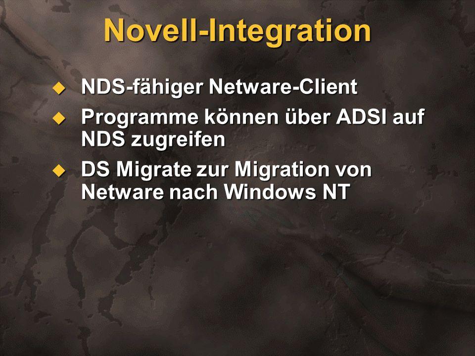 Novell-Integration NDS-fähiger Netware-Client NDS-fähiger Netware-Client Programme können über ADSI auf NDS zugreifen Programme können über ADSI auf N