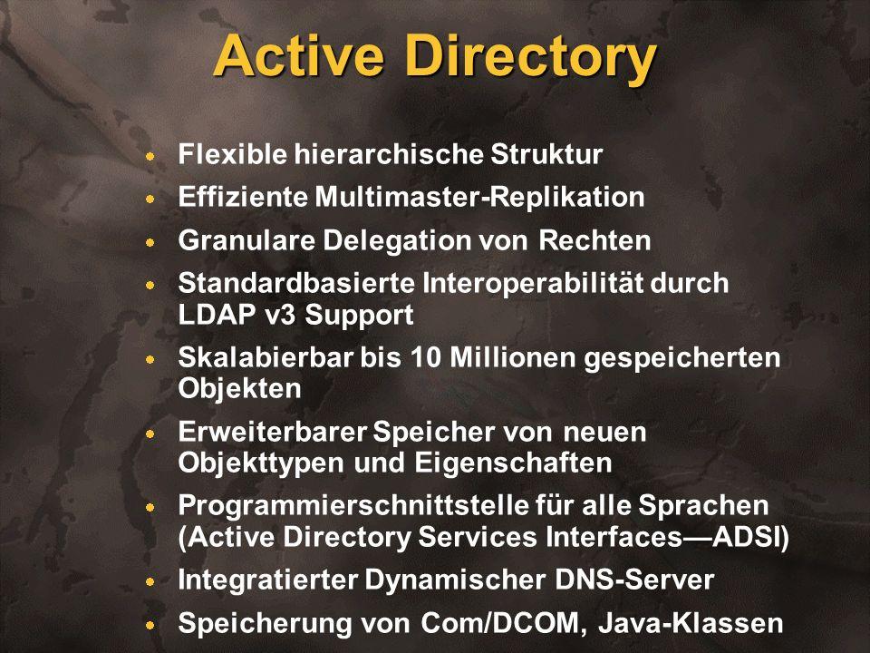Active Directory Flexible hierarchische Struktur Effiziente Multimaster-Replikation Granulare Delegation von Rechten Standardbasierte Interoperabilitä