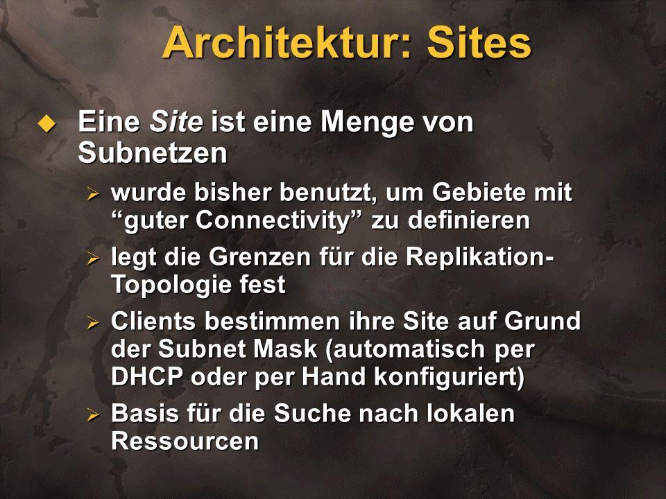 Architektur: Sites Eine Site ist eine Menge von Subnetzen Eine Site ist eine Menge von Subnetzen wurde bisher benutzt, um Gebiete mit guter Connectivi