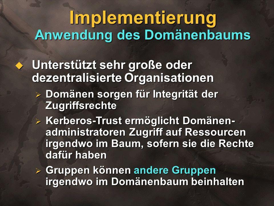 Implementierung Anwendung des Domänenbaums Unterstützt sehr große oder dezentralisierte Organisationen Unterstützt sehr große oder dezentralisierte Or