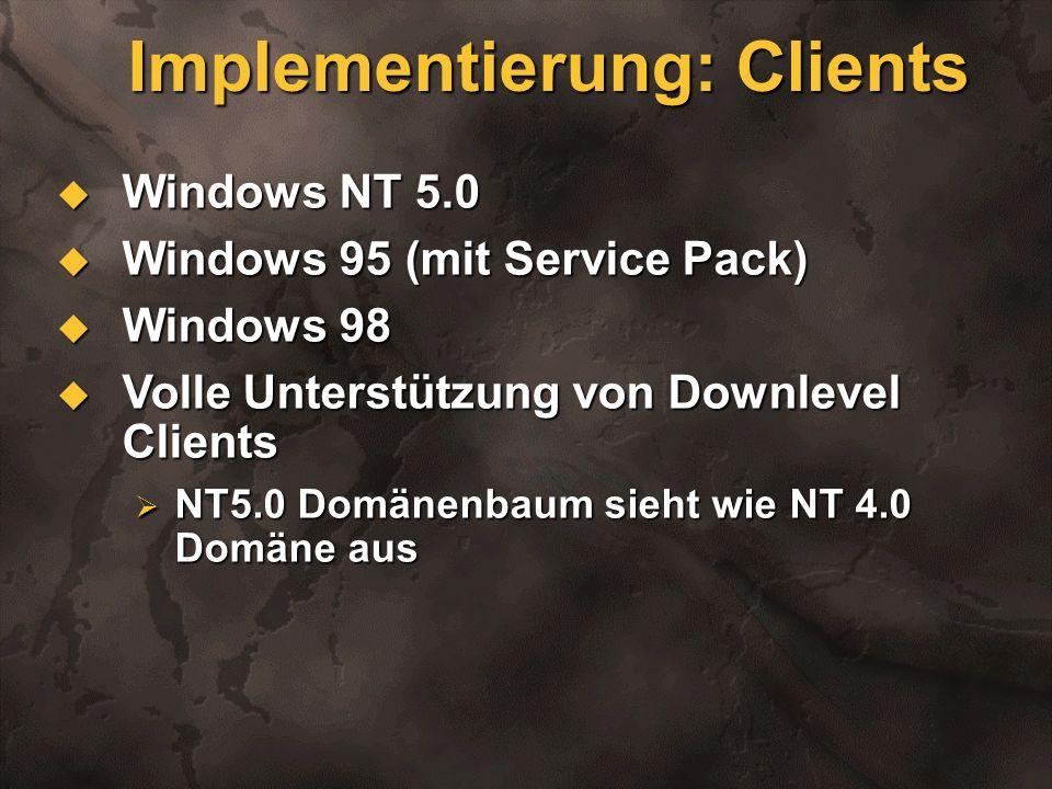 Implementierung: Clients Windows NT 5.0 Windows NT 5.0 Windows 95 (mit Service Pack) Windows 95 (mit Service Pack) Windows 98 Windows 98 Volle Unterst