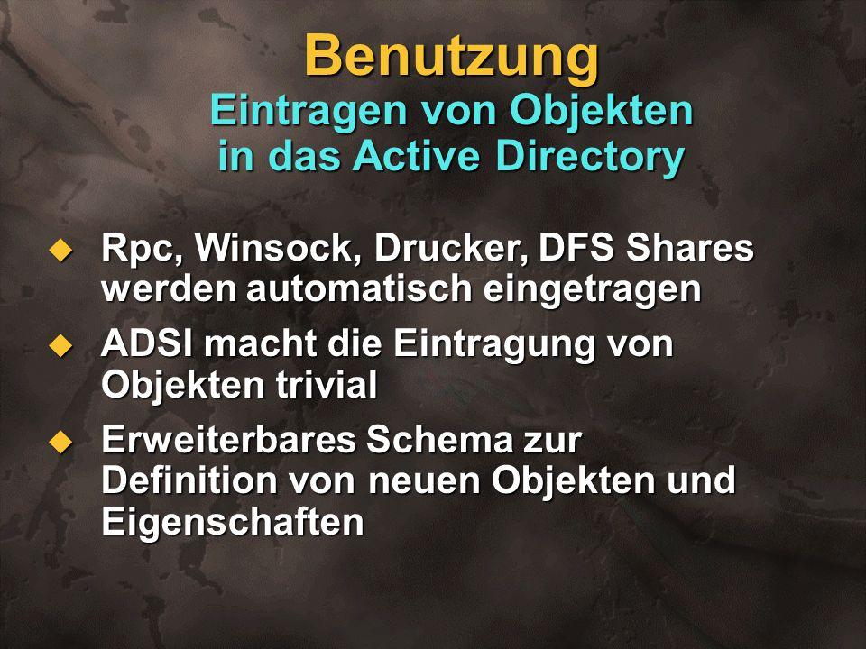 Benutzung Eintragen von Objekten in das Active Directory Rpc, Winsock, Drucker, DFS Shares werden automatisch eingetragen Rpc, Winsock, Drucker, DFS S