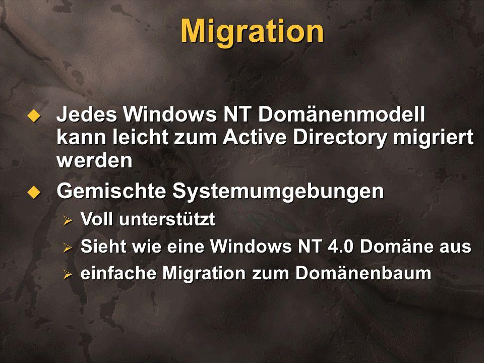 Migration Jedes Windows NT Domänenmodell kann leicht zum Active Directory migriert werden Jedes Windows NT Domänenmodell kann leicht zum Active Direct