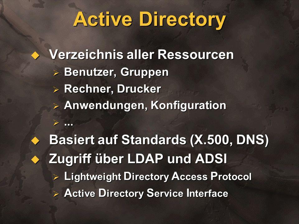 Active Directory Verzeichnis aller Ressourcen Verzeichnis aller Ressourcen Benutzer, Gruppen Benutzer, Gruppen Rechner, Drucker Rechner, Drucker Anwen