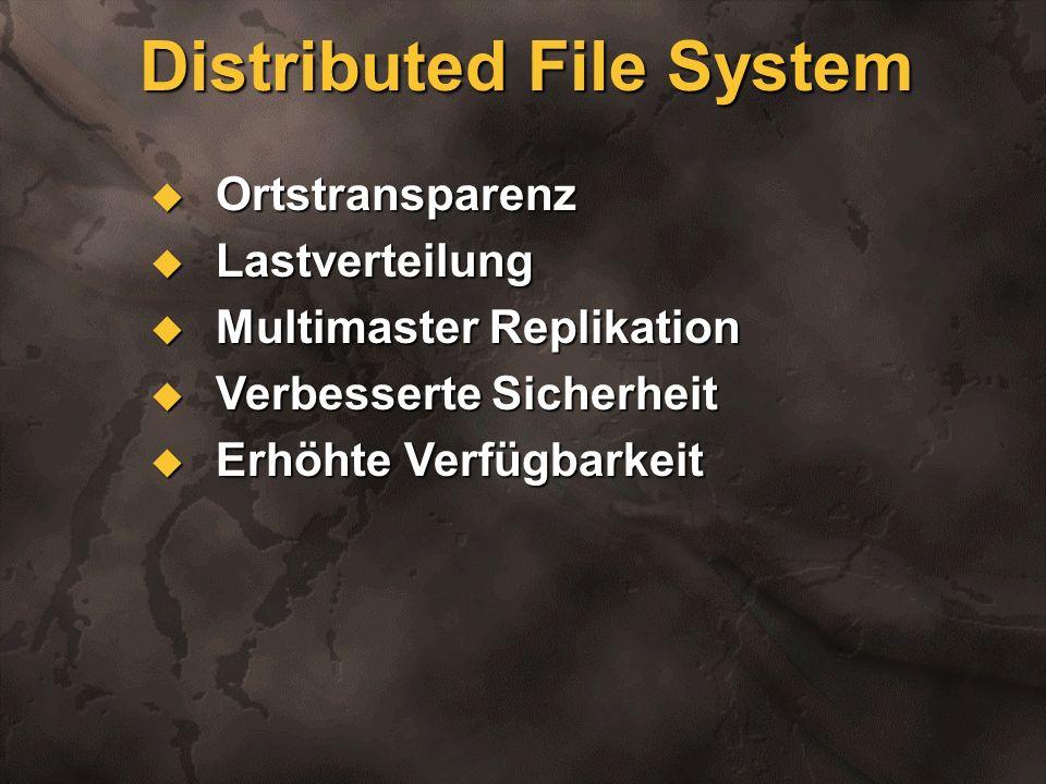 Implementierung: Clients Windows NT 5.0 Windows NT 5.0 Windows 95 (mit Service Pack) Windows 95 (mit Service Pack) Windows 98 Windows 98 Volle Unterstützung von Downlevel Clients Volle Unterstützung von Downlevel Clients NT5.0 Domänenbaum sieht wie NT 4.0 Domäne aus NT5.0 Domänenbaum sieht wie NT 4.0 Domäne aus
