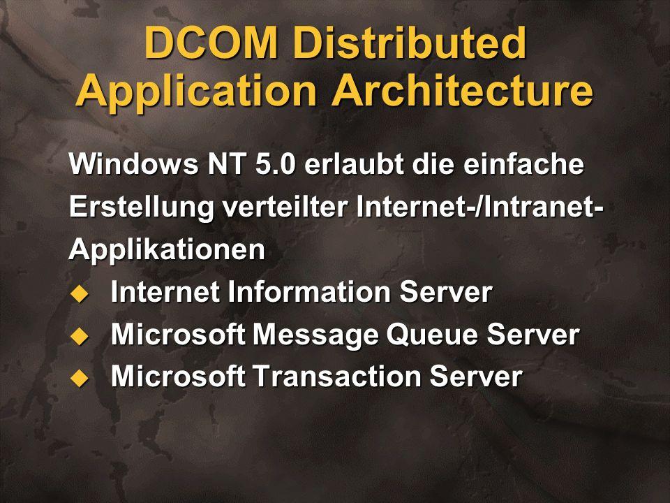 DCOM Distributed Application Architecture Windows NT 5.0 erlaubt die einfache Erstellung verteilter Internet-/Intranet- Applikationen Internet Informa