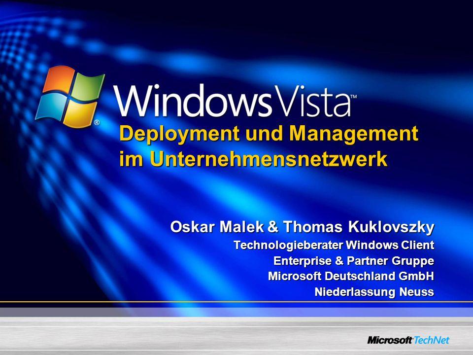 Situation unter Windows XP Entwickelt für den Anwender, Ausführung der setup.exe Viele Abhängigkeiten zwischen den einzelnen Windows Komponenten Viele verschiedene Images aufgrund von unterschiedlicher Hardware und Sprachen Installation dauert lange und hat verschiedene Phasen (Text mode, GUI Mode, etc.) Dem Pre-installation Tool-Kit fehlt die Unterstützung für komplette end to end Pre-installions Szenarien