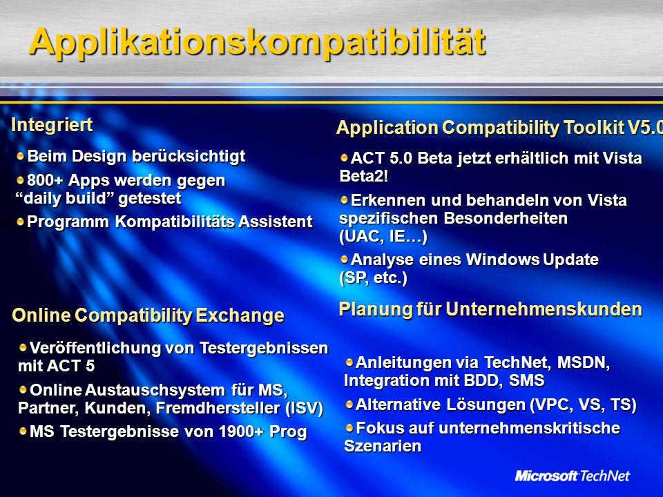 Applikationskompatibilität Integriert Beim Design berücksichtigt 800+ Apps werden gegen daily build getestet Programm Kompatibilitäts Assistent Applic