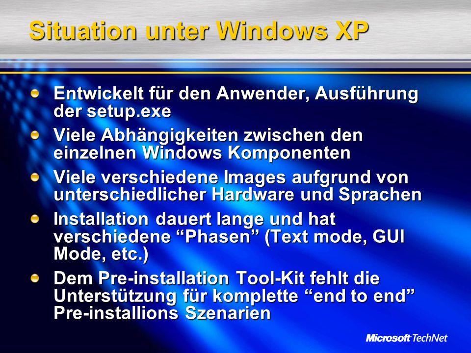 Situation unter Windows XP Entwickelt für den Anwender, Ausführung der setup.exe Viele Abhängigkeiten zwischen den einzelnen Windows Komponenten Viele