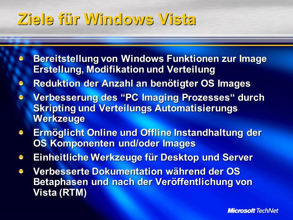 Ziele für Windows Vista Bereitstellung von Windows Funktionen zur Image Erstellung, Modifikation und Verteilung Reduktion der Anzahl an benötigter OS