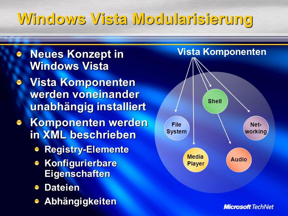 Windows Vista Modularisierung Neues Konzept in Windows Vista Vista Komponenten werden voneinander unabhängig installiert Komponenten werden in XML bes