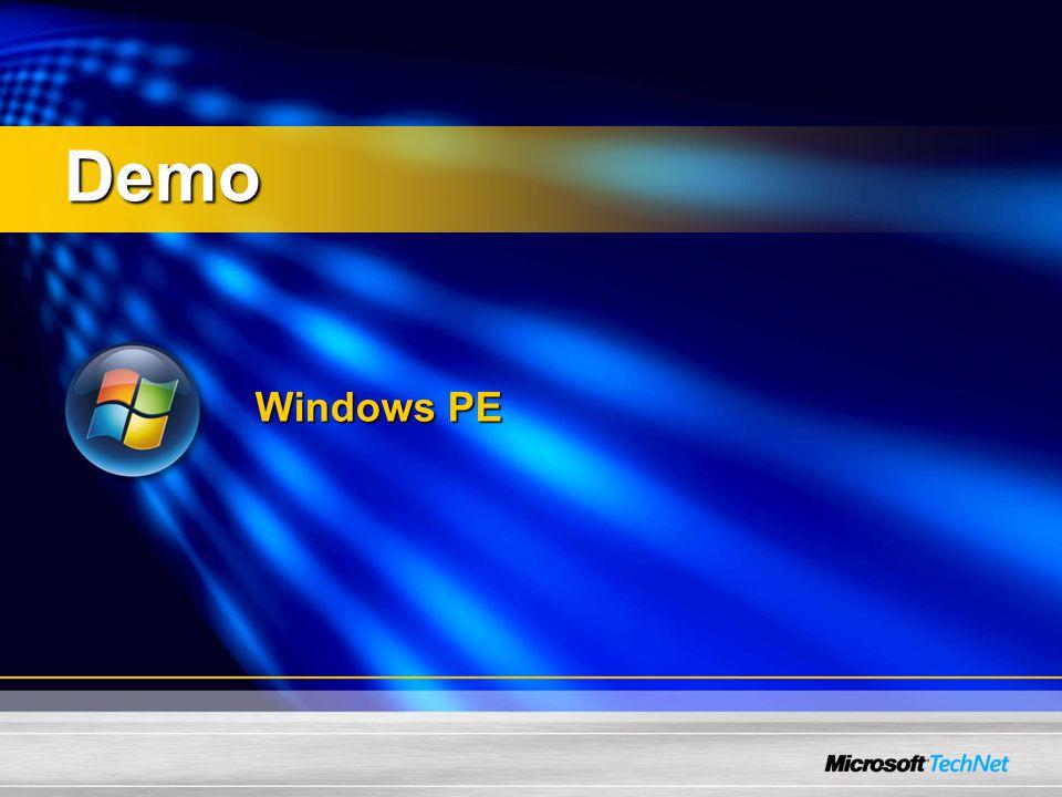 Image-Based Setup (IBS) Alle Vista Versionen werden als SysPrep Image ausgeliefert Setup.EXE wendet das Image an Setup wendet Image an unter Verwendung von Antwortdateien (unattend.xml) für anwenderspezifische Installation Setup passt das image unter WinPE an bevor es auf den PC angewendet wird Windows Vista Setup unterstützt den Upgrade von FAT/FAT32 auf NTFS (default format type ist NTFS) Zwei Wege um Vista zu installieren: Anwenden des RTM Image unter Benutzung der unattend.xml um setup.exe zu modifizieren Installation von Vista, Konfiguration & SysPrep, Capture, und Deployment mit Vista Imaging Werkzeugen (ImageX)