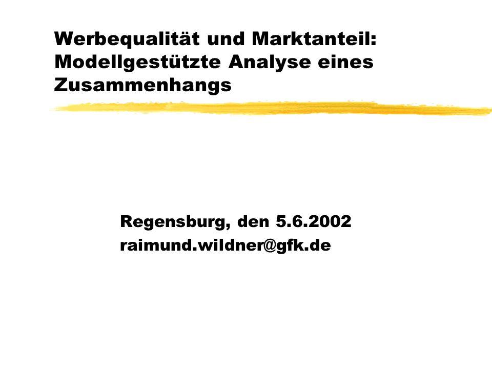 Werbequalität und Marktanteil: Modellgestützte Analyse eines Zusammenhangs Regensburg, den 5.6.2002 raimund.wildner@gfk.de