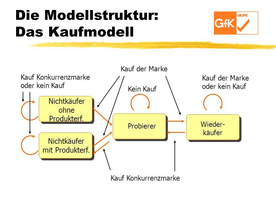 Die Modellstruktur: Das Kaufmodell Kauf Konkurrenzmarke Nichtkäufer ohne Produkterf. Nichtkäufer mit Produkterf. Probierer Wieder- käufer Kein Kauf Ka
