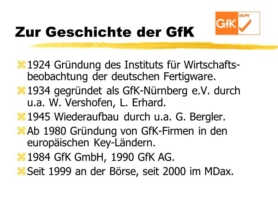 Zur Geschichte der GfK z1924 Gründung des Instituts für Wirtschafts- beobachtung der deutschen Fertigware. z1934 gegründet als GfK-Nürnberg e.V. durch