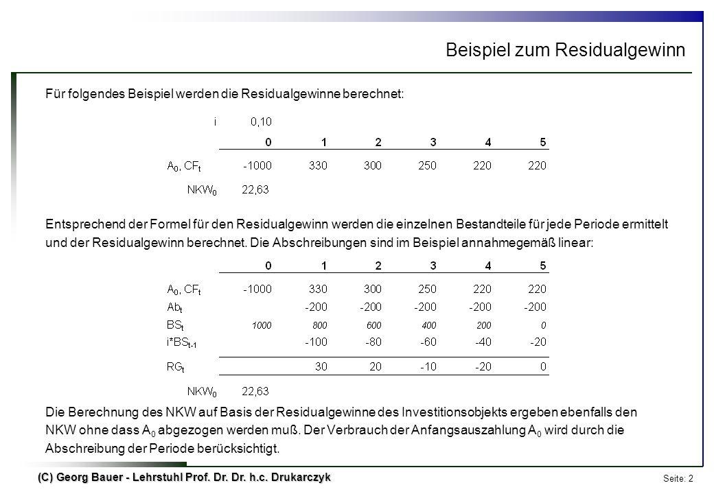 Seite: 2 (C) Georg Bauer - Lehrstuhl Prof. Dr. Dr. h.c. Drukarczyk Beispiel zum Residualgewinn Für folgendes Beispiel werden die Residualgewinne berec