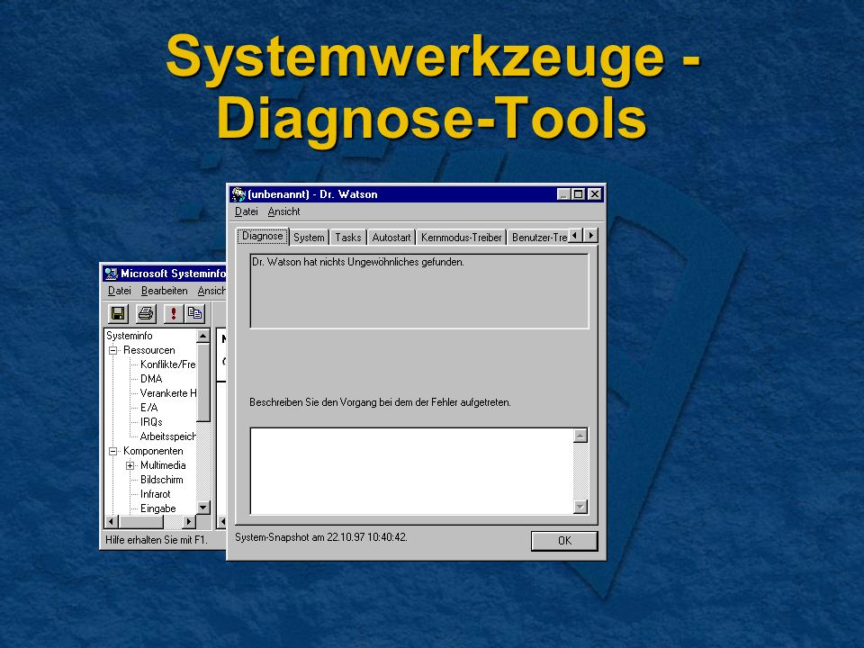 Systemwerkzeuge - Diagnose-Tools