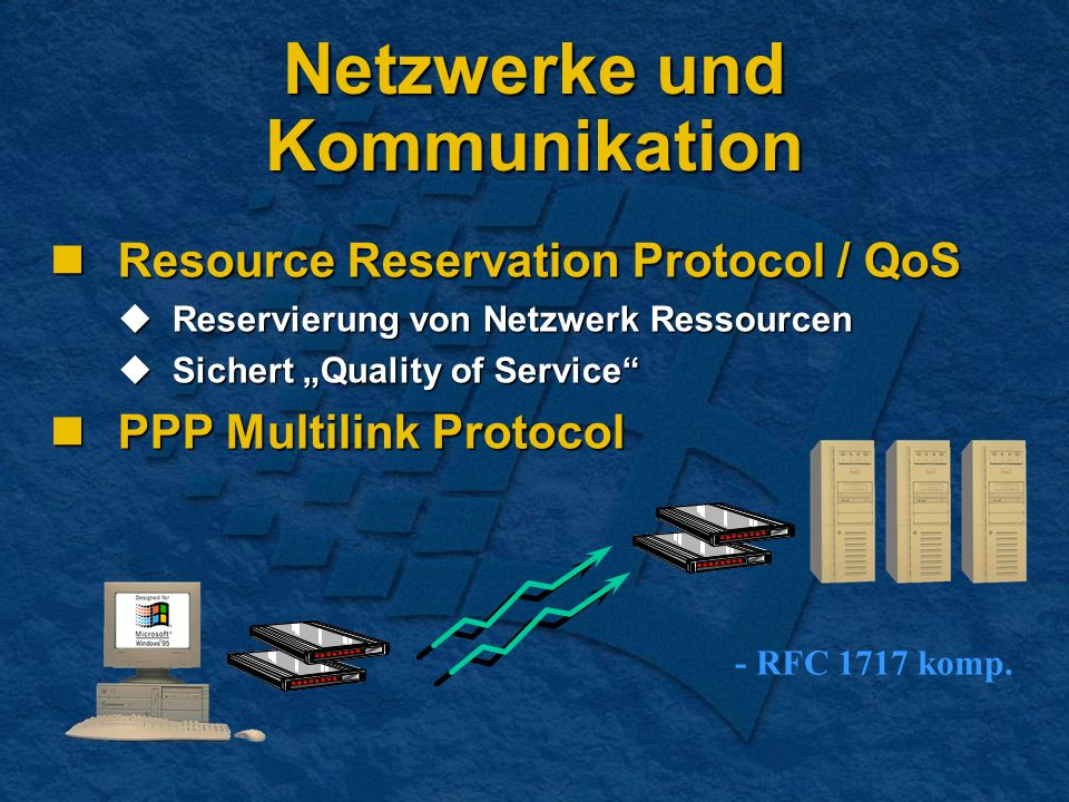 Netzwerke und Kommunikation Resource Reservation Protocol / QoS Resource Reservation Protocol / QoS Reservierung von Netzwerk Ressourcen Reservierung von Netzwerk Ressourcen Sichert Quality of Service Sichert Quality of Service PPP Multilink Protocol PPP Multilink Protocol - RFC 1717 komp.